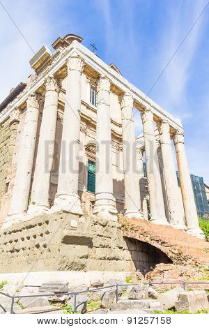 Temple Of Antoninus And Faustina In The Roman Forum In Rome, Italy