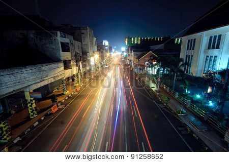 Bandung, Indonesia - June 24, 2014: Night view of Bandung city the capital of West Java province in Indonesia.