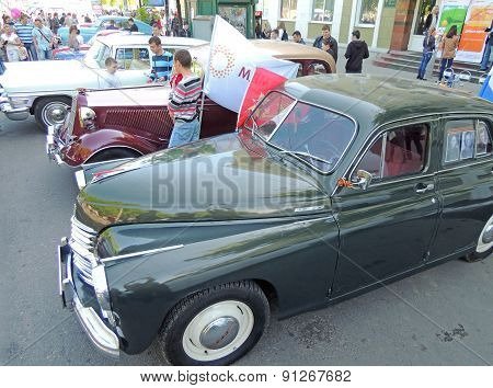 Retro Cars Pobeda, Gaz M1 And Chaika