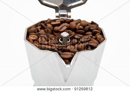 Classical Italian Coffee Maker Pot Filled With Coffee Beans