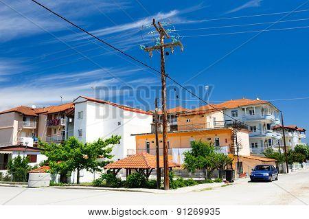 Summer view of Leptokaria coastal town, Greece