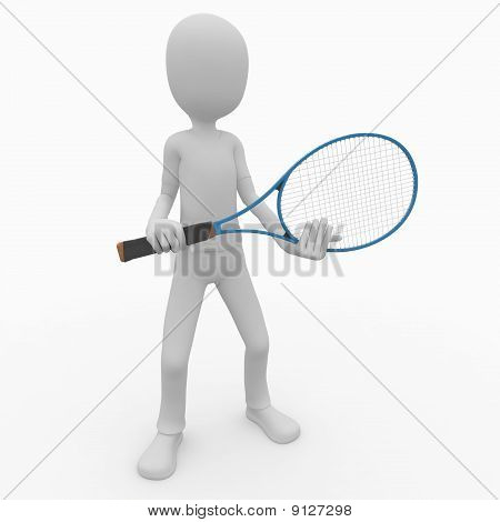 3D Man Playing Tennis