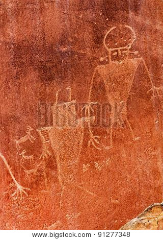 Native American Indian Fremont Petroglyphs Sandstone Mountain Capitol Reef National Park Torrey Utah