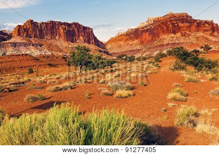 Capitol Reef Sandstone Mountains Desert Capitol Reef National Park Torrey Utah