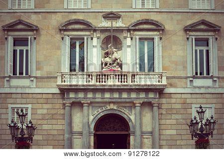Balcony of the Palau de la Generalitat in Barcelona, Spain