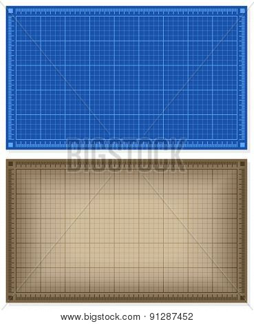 Set of blueprint backgrounds
