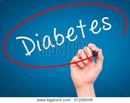 Man Hand writing Diabetes with marker on transparent wipe board.