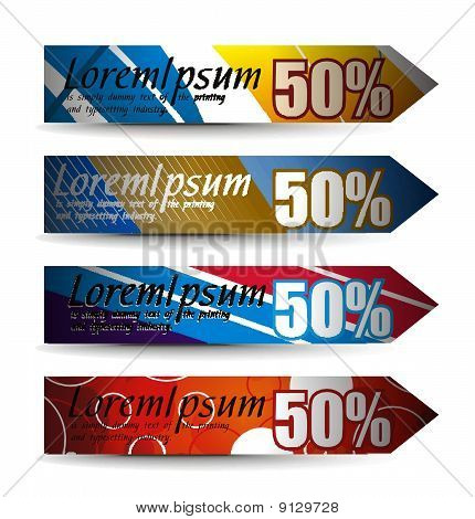 Abstract discount banners on different themes, multi-colored