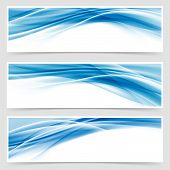 Beautiful hi-tech blue header footer swoosh collection web modern abstract transparent border layout. Vector illustration poster