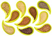 healthy, gluten free, grains and seeds (flax, chia, quinoa, kaniwa, sorghum, rice, buckwheat, amaranth, teff) - top view of teardrop shaped bowls on white background poster