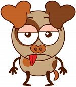 Cute brown dog in minimalistic style with big hanging ears, bulging eyes and pointy tail while sticking its tongue out and showing a sad apathetic attitude poster
