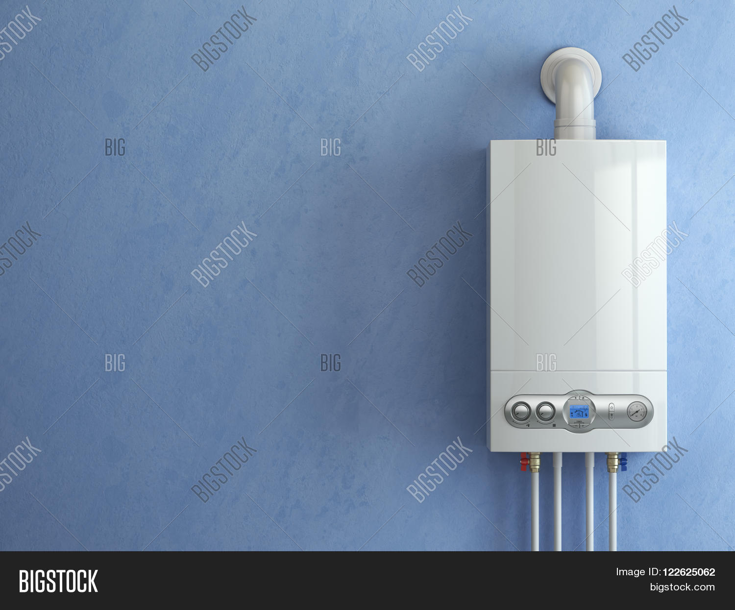 Gas Boiler On Blue Image & Photo (Free Trial) | Bigstock