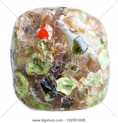 macro shooting of natural gemstone - polished peridot (Chrysolite olivine) gem crystals in mineral stone isolated on white background poster