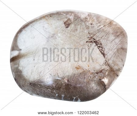 Tumbled Rutilated Quartz Mineral Gemstone Isolated