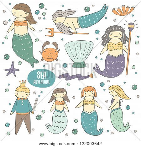 Cute hand drawn doodle mermaid fairy tale characters and objects collection including girl mermaid, father mermaid, witch, mermaid, girlfriends mermaids, prince, shell, crab, coral, eel, star, bubbles