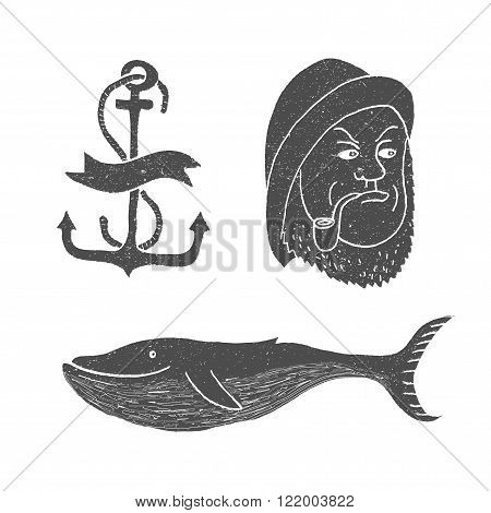 Marine themes & tattoo. Sailor. Ocean. Whale. Anchor. Vector illustration in doodle style. poster
