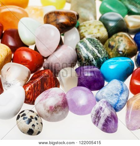 Many Tumbled Natural Mineral Gemstones