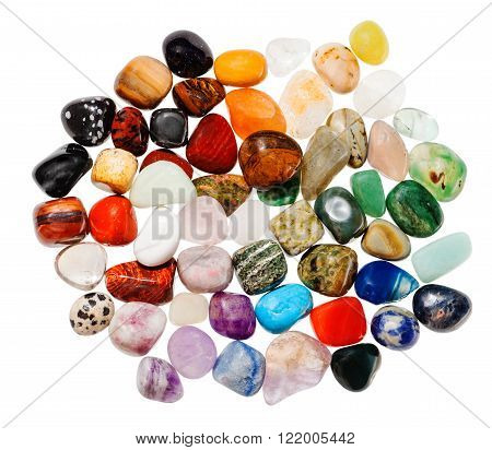 Top View Many Polished Natural Mineral Gemstones