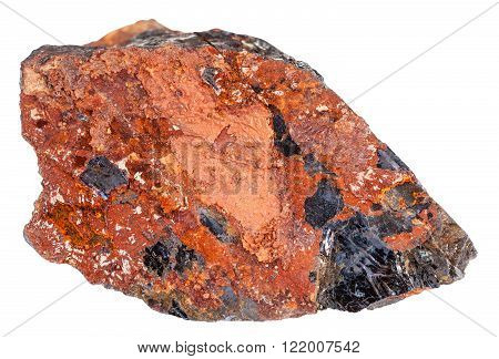 macro shooting of natural rock specimen - piece of wolframite mineral stone in iron ore isolated on white background poster