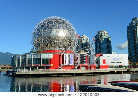 Vancouver Science World in Vancouver, Province of British Columbia, Canada. This building was designed for EXPO 86. poster