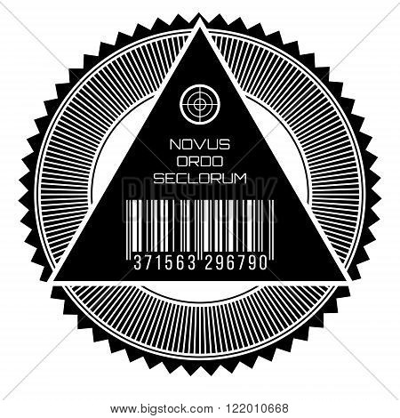 All seeing eye, new world order words in latin, seal.