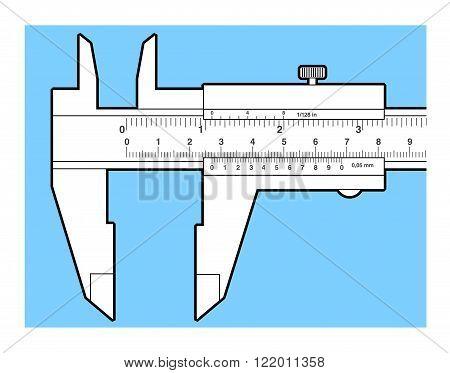Vernier caliper tool isolated on white. Sliding caliper illustration.