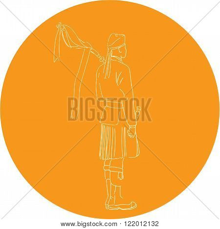 Drawing sketch style illustration of a Scotsman Scottish soldier bagpiper wearing scottish bonnet highland dress with bagpipes viewed from the back set inside circle.