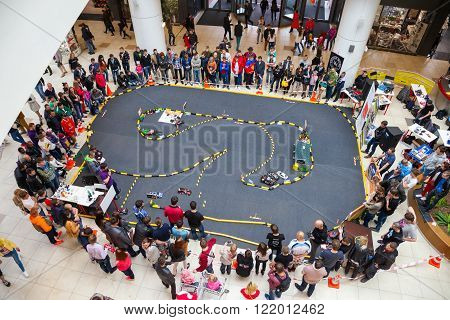 Minsk, Belarus, 11-May-2014: rally of radio controlled car models on celebration of Ice Hockey World Championship in Minsk, Belarus.
