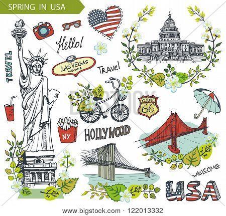 Spring in USA, floral decor.Vector Doodles.American travel symbols in hand drawn sketch, sign of landmark, lettering.Vintage Illustration, background. Golden gate, Brookline bridge, Statue Of Liberty, Capitol