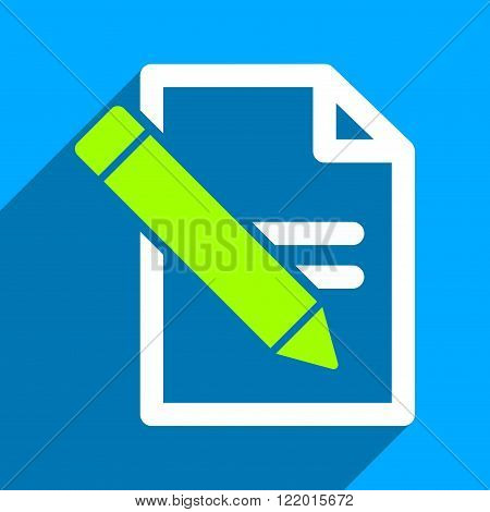 Edit Records long shadow vector icon. Style is a flat edit records iconic symbol on a blue square background.