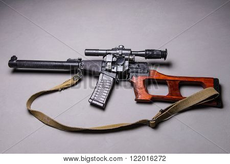 Modern russian sniper rifle with telescopic sight and silencer.Top view