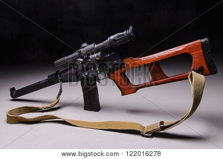 Modern russian assault rifle with telescopic sight and silencer