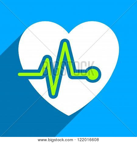 Heart Pulse long shadow vector icon. Style is a flat heart pulse iconic symbol on a blue square background.