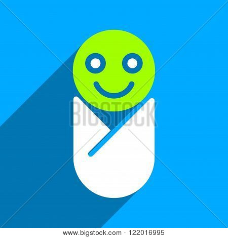 Infant long shadow vector icon. Style is a flat infant iconic symbol on a blue square background. poster