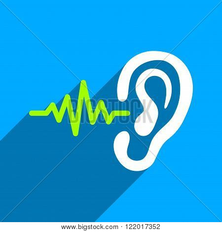 Listen Signal long shadow vector icon. Style is a flat listen signal iconic symbol on a blue square background.