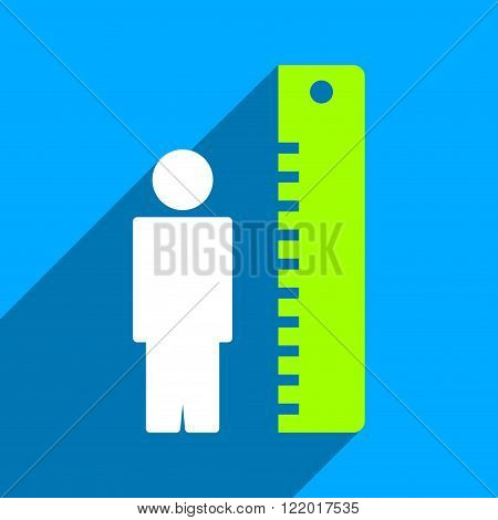 Man Height Meter long shadow vector icon. Style is a flat man height meter iconic symbol on a blue square background.