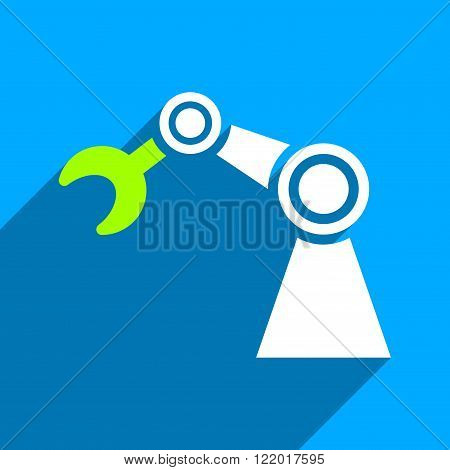 Manipulator long shadow vector icon. Style is a flat manipulator iconic symbol on a blue square background.
