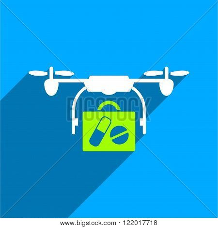 Medical Drone Shipment long shadow vector icon. Style is a flat medical drone shipment iconic symbol on a blue square background.