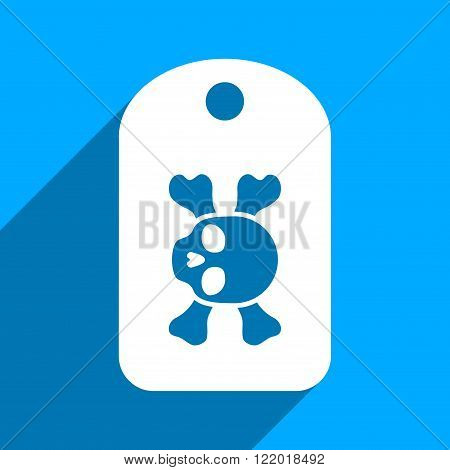 Morgue Mark long shadow vector icon. Style is a flat morgue mark iconic symbol on a blue square background.