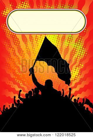 background with silhouette of people with banners