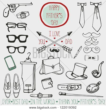 Doodle vector.Fathers day decor vintage elements set.Retro male linear silhouette collection .Hand drawing mustaches, bow tie, eyeglasses, watches, boots, pants, accessories.Fashion   design template