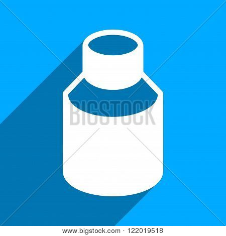 Phial long shadow vector icon. Style is a flat phial iconic symbol on a blue square background.