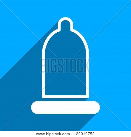 Preservative long shadow vector icon. Style is a flat preservative iconic symbol on a blue square background.