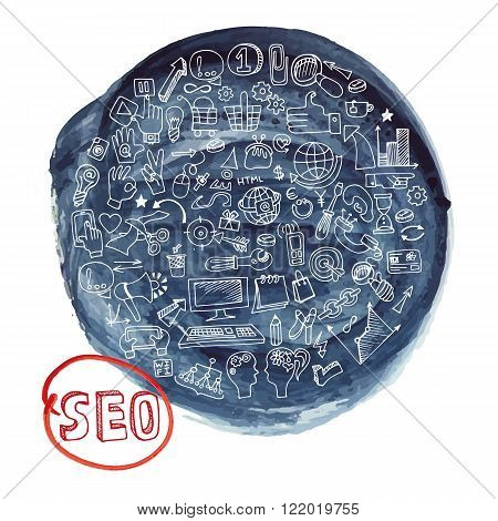 Doodle hand drawing  sketchy seo  icons composition in watercolor blue ink stein background.Business concept . Vector circle  illustration