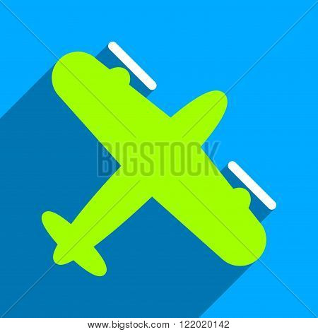 Screw Aeroplane long shadow vector icon. Style is a flat screw aeroplane iconic symbol on a blue square background.