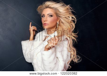 Portrait Of Sexy Blonde Woman.