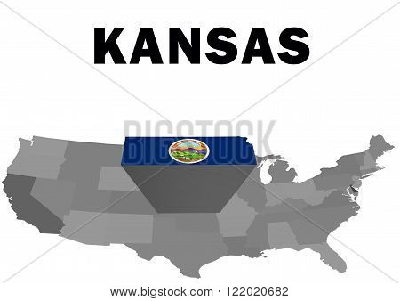 Outline map of the United States with the state of Kansas raised and highlighted with the state flag