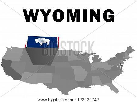 Outline map of the United States with the state of Wyoming raised and highlighted with the state flag