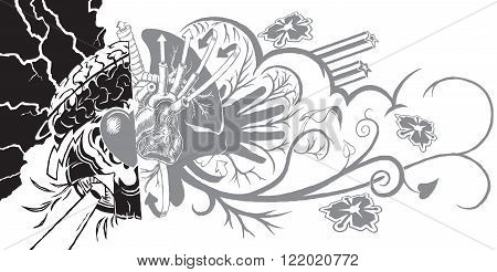 Vector cartoon clip art illustration of an eclectic and dynamic tattoo-like graphic element featuring filigree and graffiti like sub-elements. The left half can symbolize belief and the right represents life.