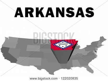 Outline map of the United States with the state of Arkansas raised and highlighted with the state flag